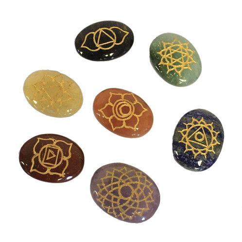 Lrg Stones Chakra Set (Oval shape)
