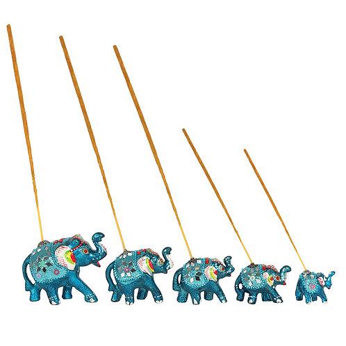 Set of 5 Turquoise Elephant Incense Burners