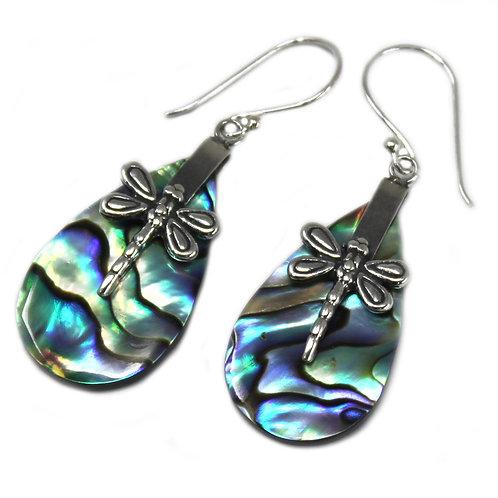 Shell & Silver Earrings - Dragonflies - Abalone