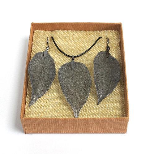 Necklace & Earring Set - Bravery Leaf - Pewter