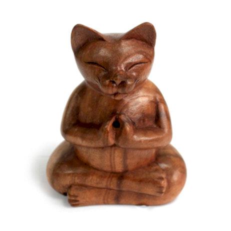 Wooden Carved Incense Burners - Lrg Yoga Cat