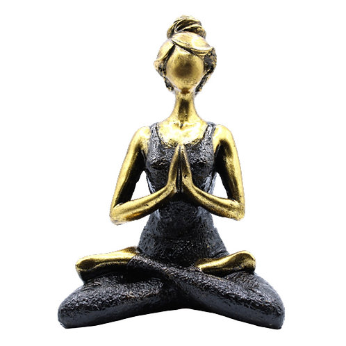 Yoga Lady Figure -  Bronze & Black 24cm