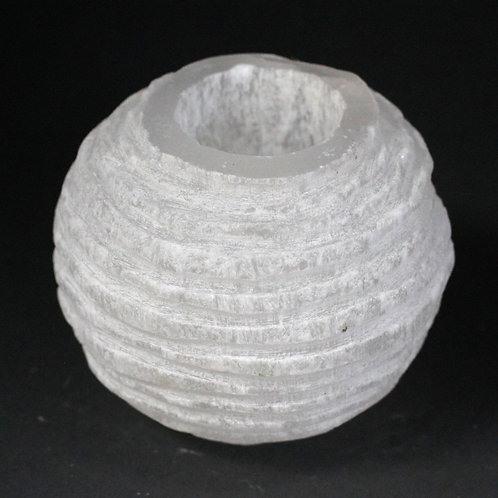 Selenite Snowball Candle Holder - 8 cm