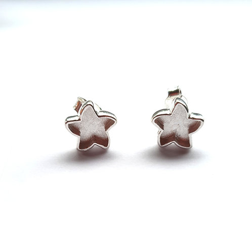 Silver star stud earrings for ashes