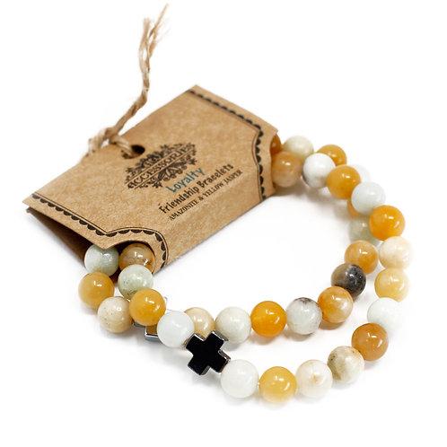 Set of 2 Gemstones Friendship Bracelets - Loyalty - Amazonite & Yellow Jasper