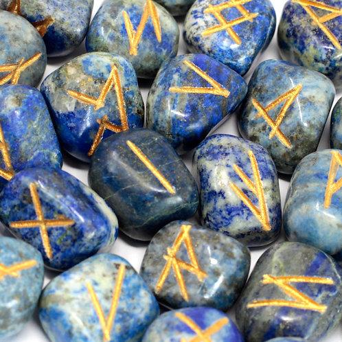 Runes Stone Set in Pouch -  Lapis Lazuli