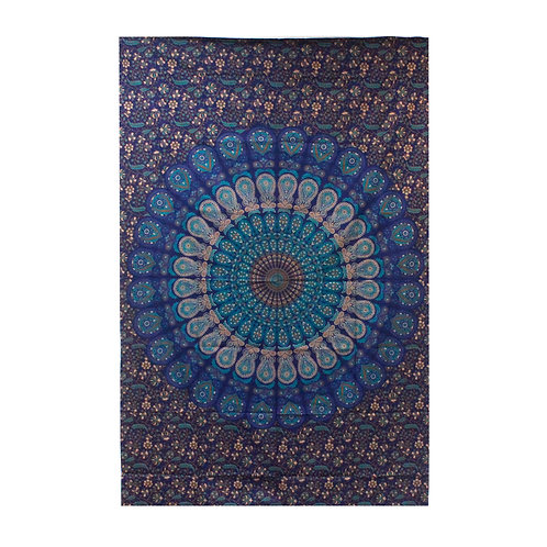 Single Cotton Bedspread/Wall Hanging - Classic Mandala