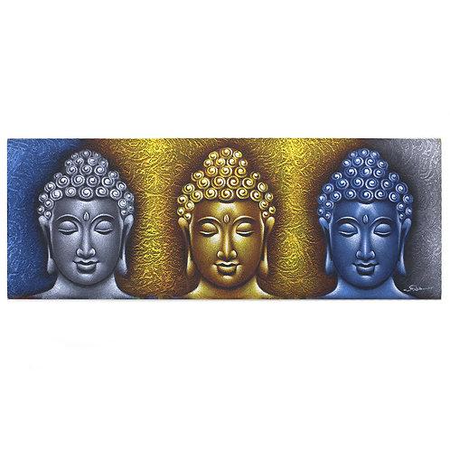Buddha Painting - Three Heads Gold Detail