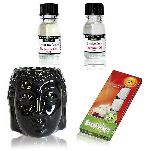 Buddha Oil Burner and Fragrance Oils Kit