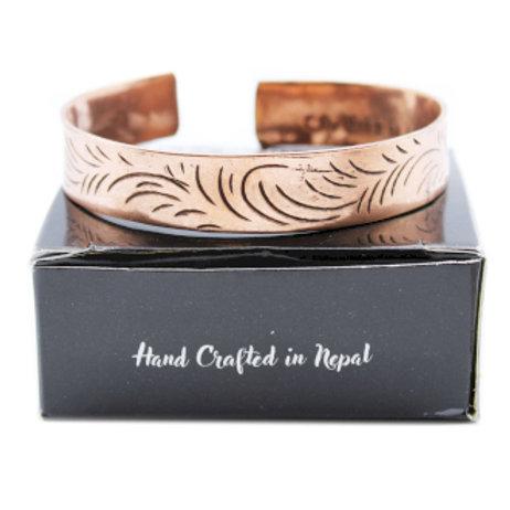 Copper Tibetan Bracelet - Wide Tribal Swirls