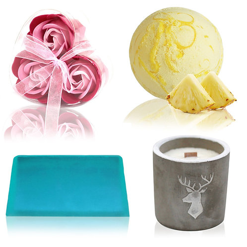 Bath Bomb, Soap Flower, Soap and Candle Set
