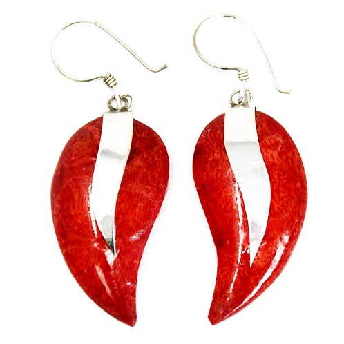 Coral Style Silver Earrings - Mangos