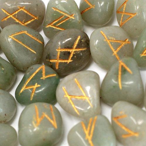 Runes Stone Set in Pouch - Green Aventurine
