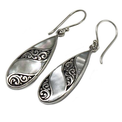 Shell & Silver Earrings - Teardrop- MOP