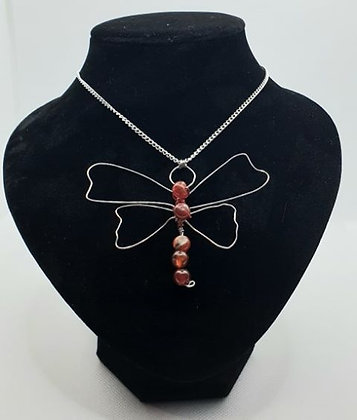 Dragonfly With Red Agate Gemstones