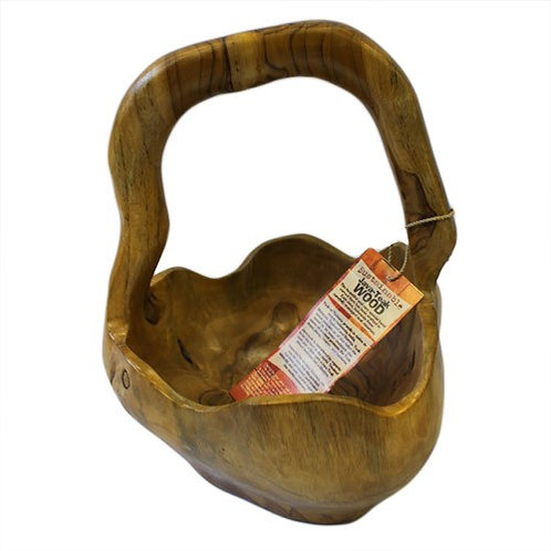Medium Back Teak Handle Bowl 25cm