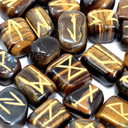 Runes Stone Set in Pouch - Tigers Eye