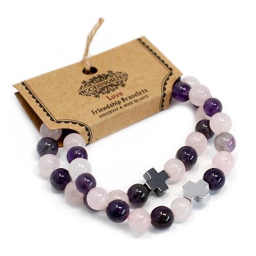 Set of 2 Gemstones Friendship Bracelets - Love - Amethyst & Rose Quartz