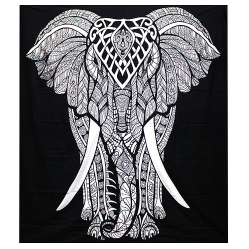 B&W Double Cotton Bedspread/Wall Hanging - Elephant