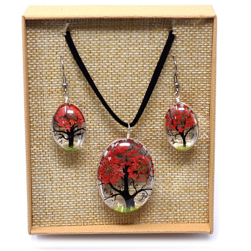 Pressed Flowers - Tree of Life set - Coral