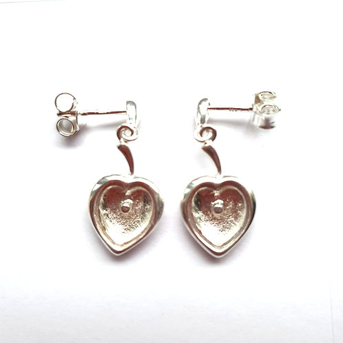 Silver Heart Drop Earrings for ashes