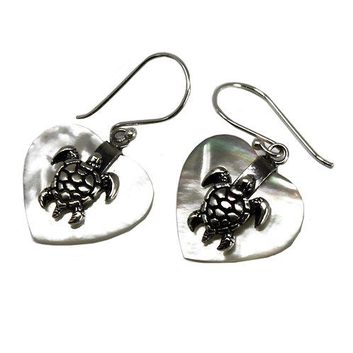 Shell & Silver Earrings - Sea Turtle - MOP