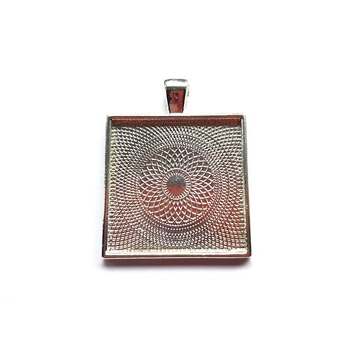 Silver plated square pendant for ashes