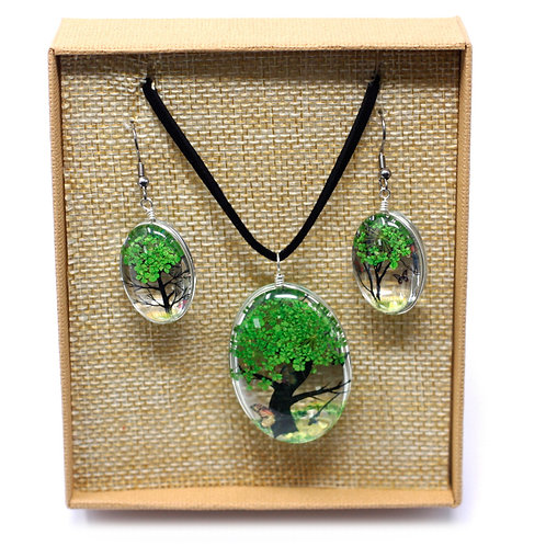 Pressed Flowers - Tree of Life set - Green
