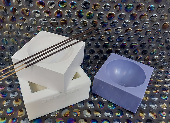 large square incense bowl silicone mould for plaster and concrete