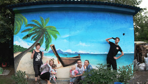 Райский уголок на даче. Граффити оформление бытовки. Тайский пляж.
