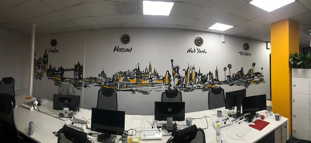 граффити в стиле скетч в офисе