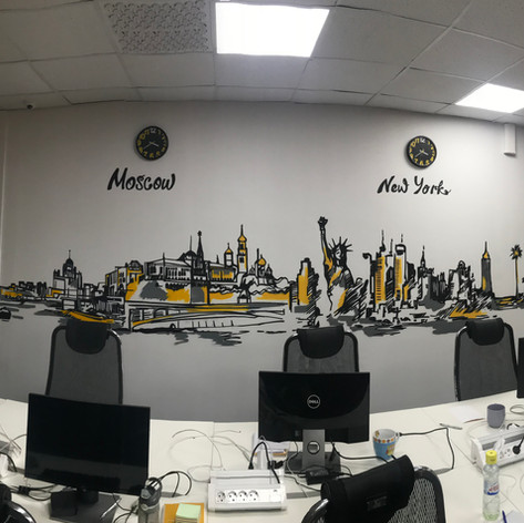 иллюстрация в офисе на стене