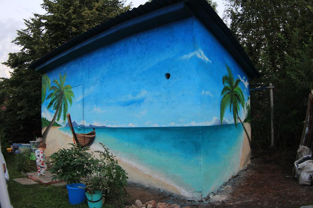 граффити на даче, роспись хозблока на заказ