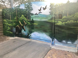 Художественная роспись на воротах граффити.