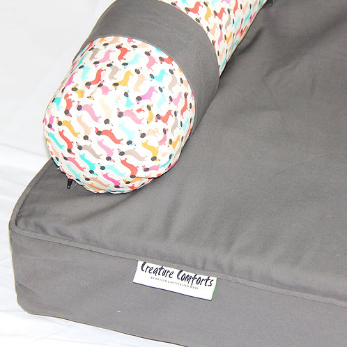 Eco Dog Couch with 3 x EXTRA Vintage Dog Bolster Covers-LARGE