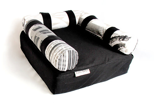 Eco Dog Couch  with 3 Vintage New York Bolsters - SMALL - Black