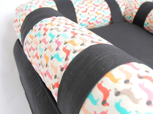 Eco Dog couch with 3 x EXTRA Vintage Dog Bolster Cushion Covers-SMALL