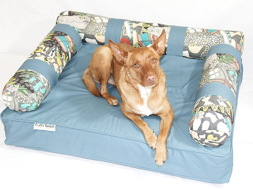 Eco Dog Couch with 3 Aussie Wildlife Bolsters - LARGE - Acapulco Blue