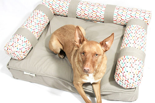 Eco Dog Couch with 3 Vintage Dog Bolsters - LARGE - Beige