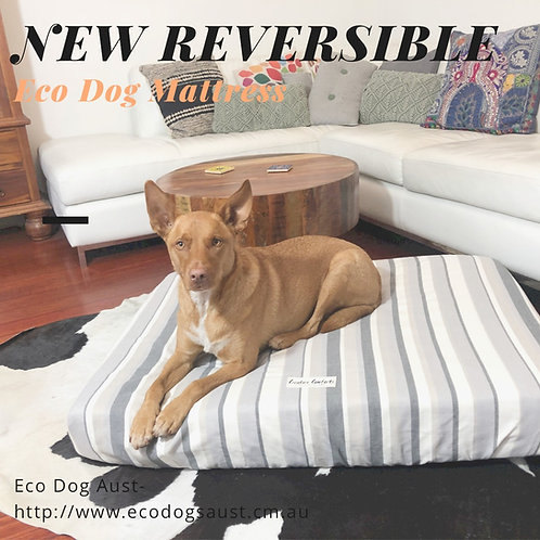 Eco Mattress - DOUBLE LAYERED & REVERSIBLE-Large 105cm x 80cm x 10cm-Grey Stripe