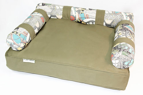 Eco dog Couch with 3 x EXTRA Wildlife Bolster Cushion Covers-LARGE