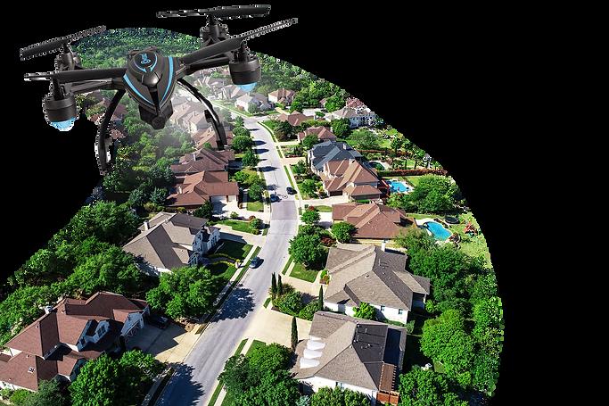 neighborhood aerial drone flyover inspection