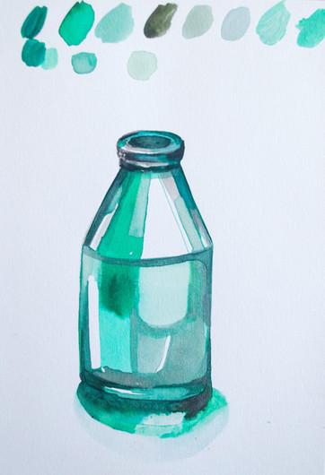 Green Jar, watercolour on paper, 21x14cm, 2020