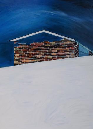 Into the night, acrylic on plywood, 89.7 x 120 cm, 2018
