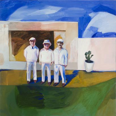 Lisa Carrett, The Boys, oil on canvas, 61x61cm, 2021
