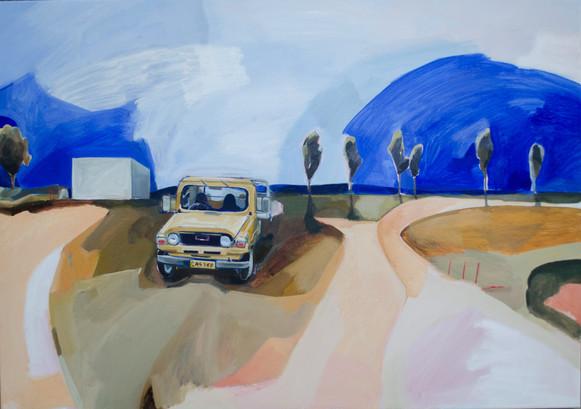 Lisa Carrett, The Golden Ute, acrylic and oil on canvas, 70x100cm, 2021