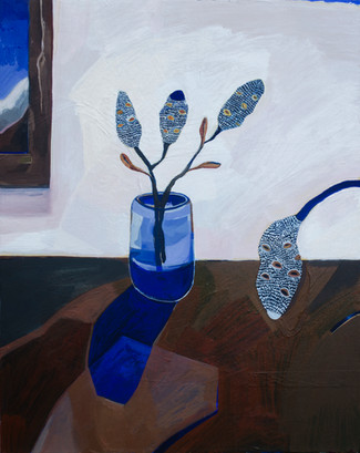 Lisa Carrett, Around the kitchen table, acrylic and oil on canvas, 41x51cm, 2021