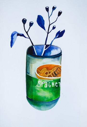 Spaghetti Can, watercolour on paper, 21 x 29.7cm, 2020