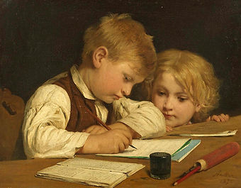 painting albert anker writing boy with s