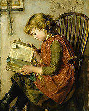 painting charles edward 1878 girl readin